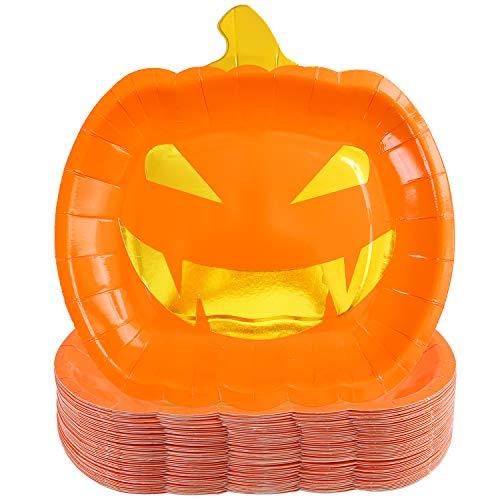 Best Halloween Themed Desserts (Aneco 50 Pieces Halloween Paper Plates Orange Pumpkin Party Plates Halloween Party Tableware Party Supplies for Halloween)