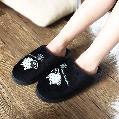 Black En Chaud Hiver Coton PU Red Tow Anti Coton Nouveau Accueil Pantoufles Sur Couple slip Fourrure Imperméable Pantoufles Intérieur Coton wYpHwRSx