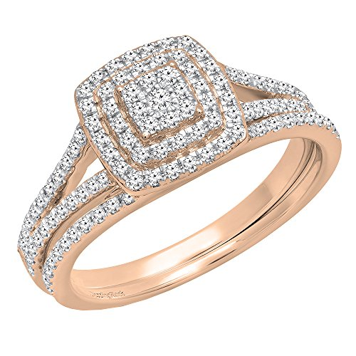 - Dazzlingrock Collection 0.50 Carat (ctw) 14K Round Diamond Ladies Cluster Engagement Ring Set 1/2 CT, Rose Gold, Size 5.5