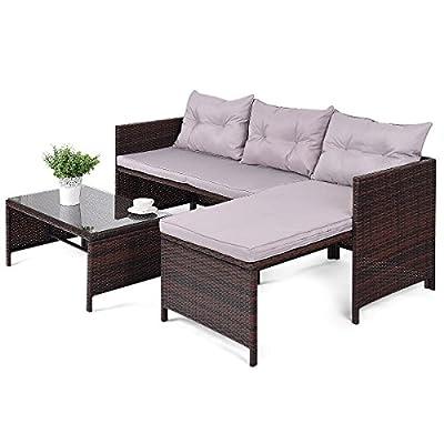 Tangkula 3 PCS Outdoor Rattan Furniture Sofa Set Lounge Chaise Cushioned Patio Garden
