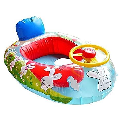 KINGDUO Rueda Cuerno Niños Nadar Anillo Asiento Flotador Bebé Barco Inflable Piscina Entrenador: Amazon.es: Hogar
