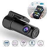 SANSHUREN WiFi Car DVR Dash Camera HD 1080P Mini Vehicle Video Recorder 170 Degree Wide Angle APP Monitor Night Vision G-Sensor Loop Video for IOS Android Phone