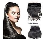 YuXian Beauty 13x2 Peruvian Straight Full Lace 7A Virgin Human Hair Ear To Ear Frontal Closure (10'' Natural Color) (18 Inch, 4# Medium Brown)