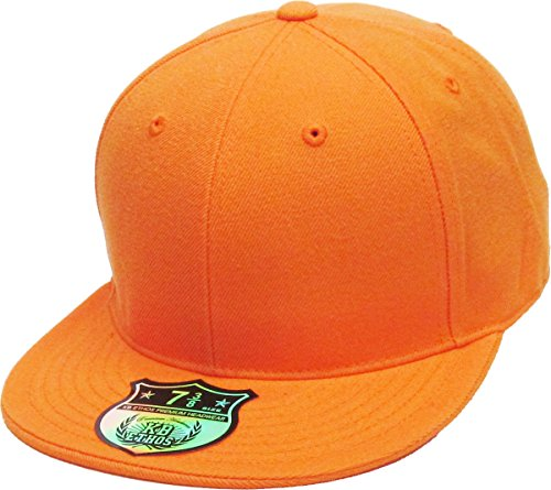 KBETHOS KNW-2364 ORG (6 7/8) The Real Original Fitted Flat-Bill Hats by True-Fit, 9 Sizes & 20 Colors (Orange Fitted Cap)