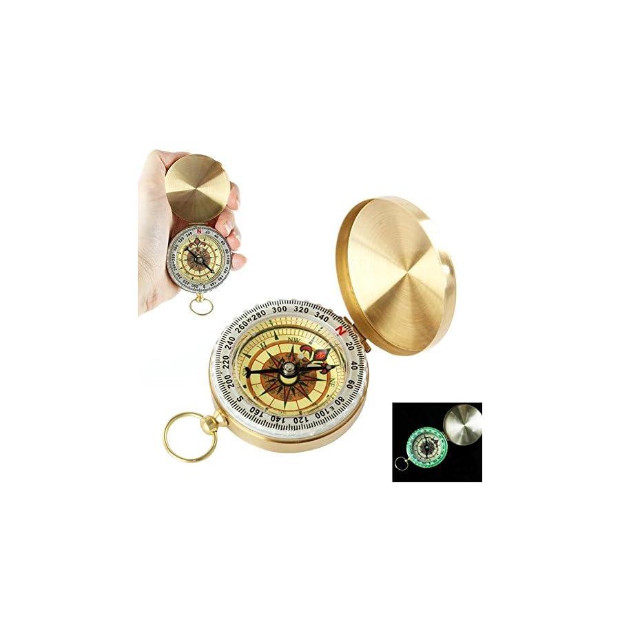 SUNFUNG Copper Clamshell Compass Waterproof Luminous Compass Camping Gear Survival Gear