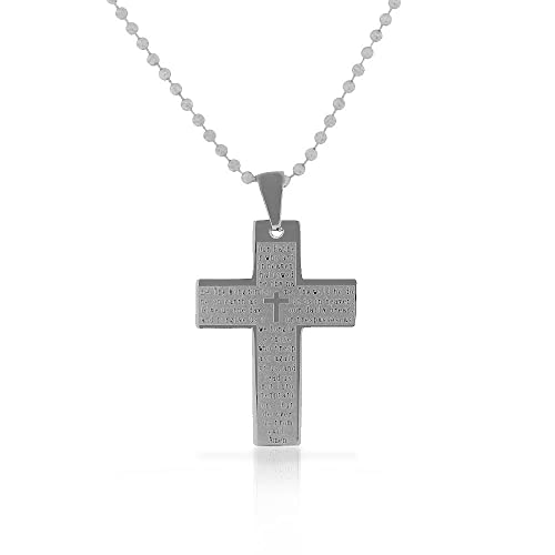 EDFORCE Stainless Steel Silver-Tone Lords Prayer in English ...