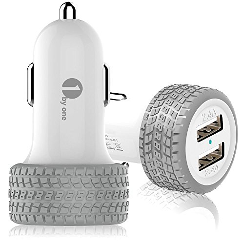 1byone 4.8A / 24W 2-Port USB Car Charger, Safety Protection for Apple and Android Devices, Gray & White