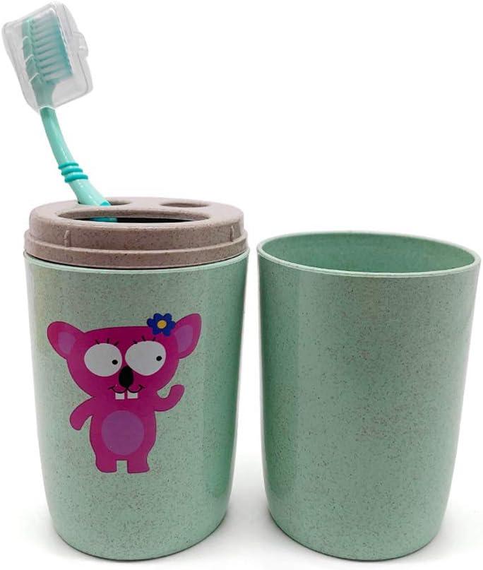 tragbar zwei Zahnb/ürsten Zahnpasta f/ür Badezimmer rose aus Kunststoff und Rohreisfasern Halter f/ür Strohhalm mit Cartoon-Motiv 1 x Reise-//Camping-Zahnputzbecher unzerbrechlich