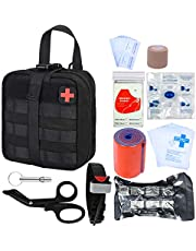 GRULLIN Survival First Aid Kit, 39 Pieces Tactical Molle EMT IFAK Pouch Emergency First Aid Survival Kits Trauma Bag Outdoor Gear for Camping Hiking Hunting Travel Car Adventures