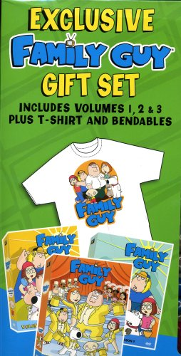 Family Guy Exclusive Gift Set Volumes 1, 2, & 3 Plus T-shirt and Bendables