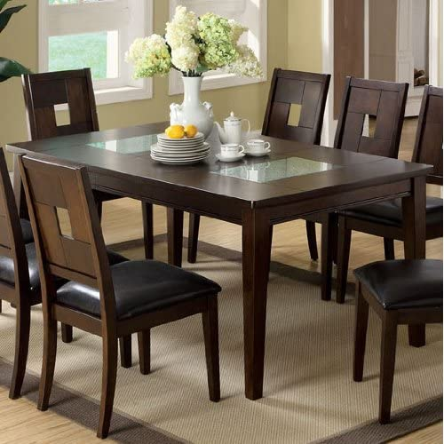 Amazoncom Primrose III Dining Table w Cracked Glass Inserts