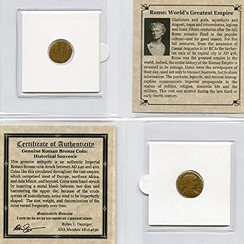 ROME: WORLD'S GREATEST EMPIRE - Authentic Roman Bronze Coin in Mini Folder with Certificate of Authenticity - Genuine Ancient Antique from 240-410 AD - Historical Souvenir with COA