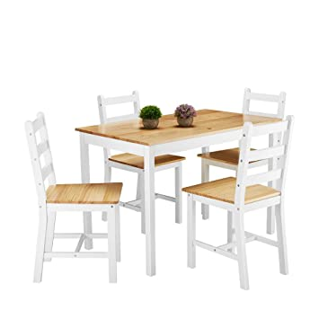 Solid Wood Dining Table And 4 Chairs Dining Set Natural Pine