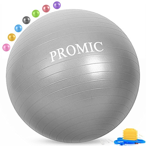PROMIC Exercise Ball (85 cm) with Foot Pump, Professional Grade Anti Burst & Slip Resistant Stability Balance Yoga Ball for Yoga, Workout, Cardio Drumming, Classroom, Work Ball Chair (Silver)