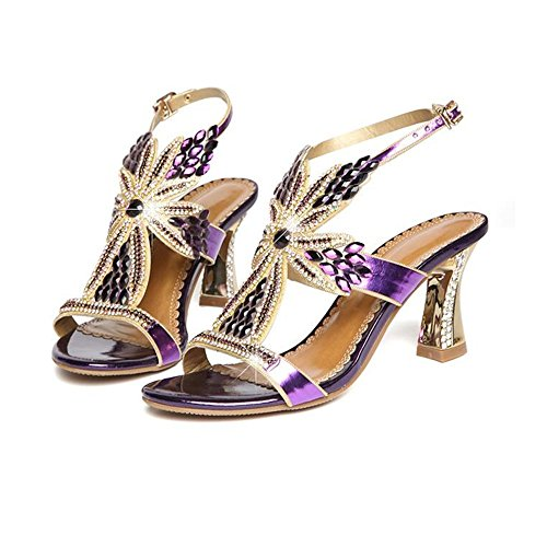 Sandalias Shishang Señoras Top Delgada Mujer Verano Cristal Alto Zapatos Diamante Sandalias Verano Cuero Diamante de Tacon de de Violeta Zapatos Sexy Cómodo OWIIqdv