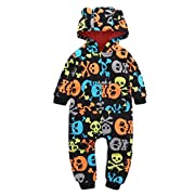 vmree Baby Outfits, Infant Boy Girl Skull Hooded Romper Jumpsuit Christmas Gift(6-24M) (6M, Multicolor)