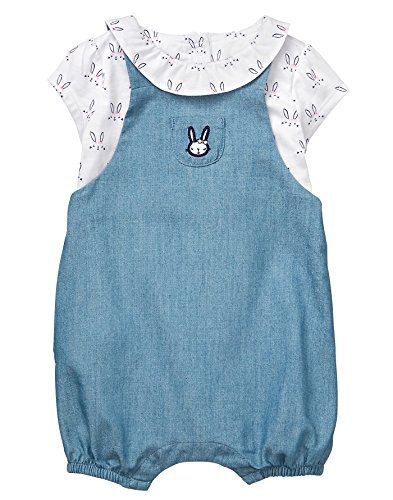 Gymboree Baby Girls Bunny Overall Ruffle Set, Chambray Blue, 0-3 MO