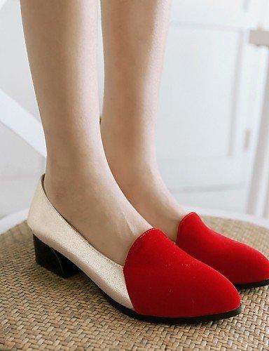 ZQ gyht Zapatos de mujer - Tacón Robusto - Tacones / Puntiagudos - Mocasines - Oficina y Trabajo / Vestido / Casual - Vellón / Semicuero -Negro / , red-us8 / eu39 / uk6 / cn39 , red-us8 / eu39 / uk6 / red-us6 / eu36 / uk4 / cn36