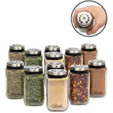 Adjustable Glass Spice Jars- Set of 12 Premium Seasoning Shaker Rub Container Tins with 6 Pouring Sizes