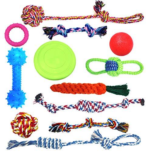 HoneyGuaridan Dog Toys Puppy Chew Dog Rope Toy, 12 Value Pack Dog Balls Dog Bones Plush Dog Toy Dog Ropes Dog Frisbee - Tug of War Ball - Toys for Medium and Large Dogs