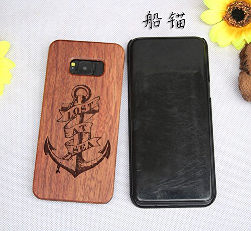 G950 s8 Case Wood Samsung Galaxy Cover in 3D Carved Handmade Dual Layer Non Slip PC Hard Armor Shockproof Slim Rose Wood Back Bumper Impact Resistant …