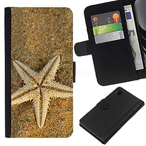 Planetar® Modelo colorido cuero carpeta tirón caso cubierta piel Holster Funda protección Para Sony Xperia Z1 / L39h / C6902 / C6903 ( Beach Starfish )