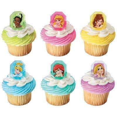 Princess Jewels - Disney Princess Jewel Cupcake Rings. 24 Count Cupcake Toppers