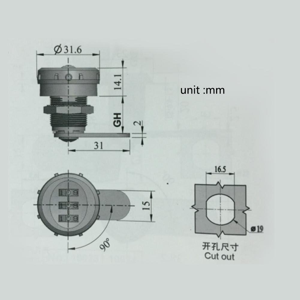 3-stellige Code-Sperre Kombination Cam Schubladenschrank Silber-Zink-Legierung Komfortable Passwort-Sicherheit Codeschloss Hardware-Tools 0,5~9 mm