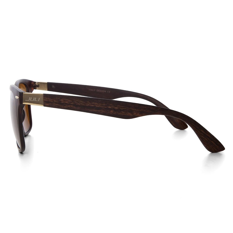 JULI® Mens Womens Mode Wayfarer Holz Bambus gedruckt wickeln Sie 52MM Sonnenbrille 4195WN sx8CUsR