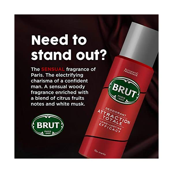 Brut Deodorant for Men, Attraction, Authentic Fragrance, Long Lasting Deo with Sensual Woody Fragrance, 200 ml 2021 July Quantity: 200ml; Item Form: Spray The sensual fragrance of Paris, the electrifying charisma of a confident man Brut passion is a woody spicy fragrance for men, Brut passion was launched during the 2000's