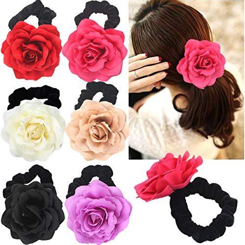 (6 Colors 3 inch Rose Flower Hair Scrunchies Velvet Elastic Hair Bands Hair Ponytail Holder Scrunchy Ties Vintage Accessories for Women Girls )