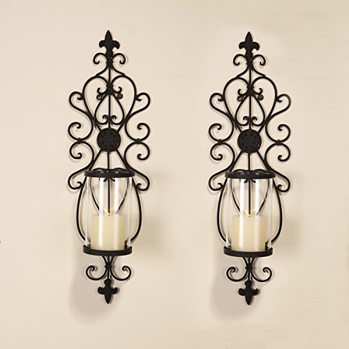 Joveco Decorative Wall Mount Candle Sconces Holders Set of 2 (Wall Mount Brick Set)