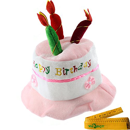 Pet Dog Birthday Holiday Party Hat Headwear Costume Accessory with Cake and 3 Colorful Candles Design for Medium Large Dogs Pets (Pink and (Unique Pet Costumes)