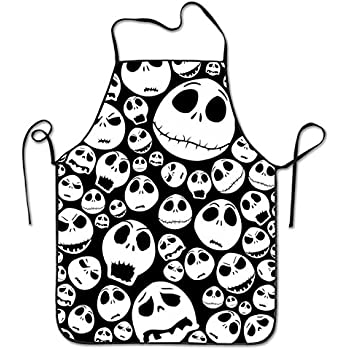 Halloween Skull Lock Edge Waterproof Durable String Adjustable Easy Care Cooking Apron Kitchen Apron For Women Men Chef