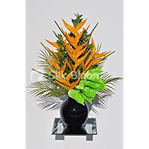 Tropical Artificial Orange Heliconia and Lime Green Anthurium Floral Table Arrangement 83