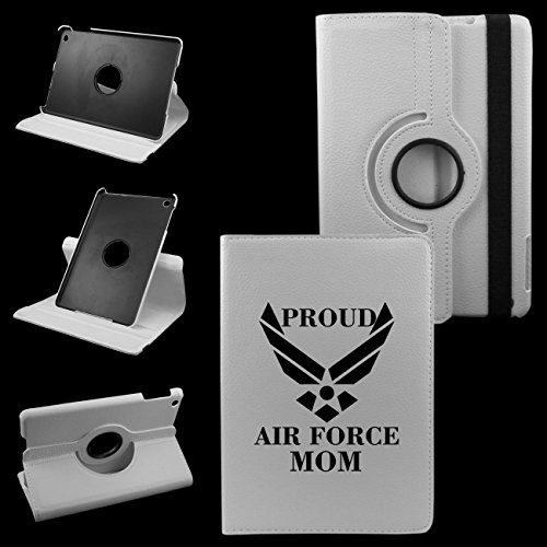 IPad Mini 1/2/3 PROUD AIR FORCE MOM Synthetic Leather Rotating Case 360 Degrees Multi-angle Vertical and Horizontal Stand with Strap (Air Force Ipad)