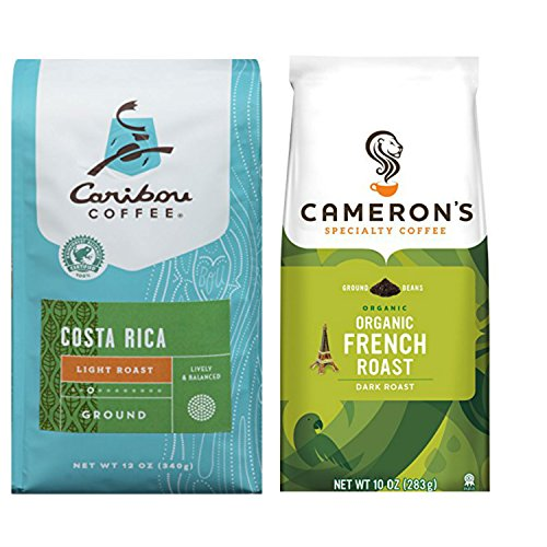 Deluxe Variety Coffee Ground Bundle Featuring 1 Bag of Caribou Costa Rica Light Ground Coffee Plus 1 Bag of Camerons Organic French Roast Coffee.
