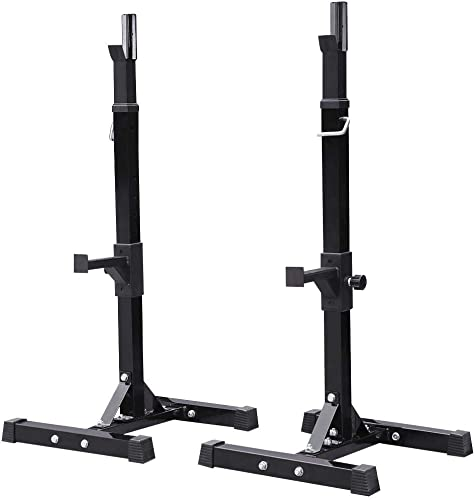 YAHEETECH 2PCS Adjustable 44-70 Inch Squat Rack Portable Utility Home Gyms Workout Weight Dumbbell Racks Stand