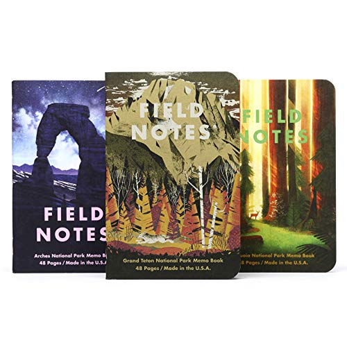 Field Notes: National Parks Series D - Grand Teton, Arches, Sequoia - 3 Pack - Graph Memo Book, 3.5 x 5.5 Inch