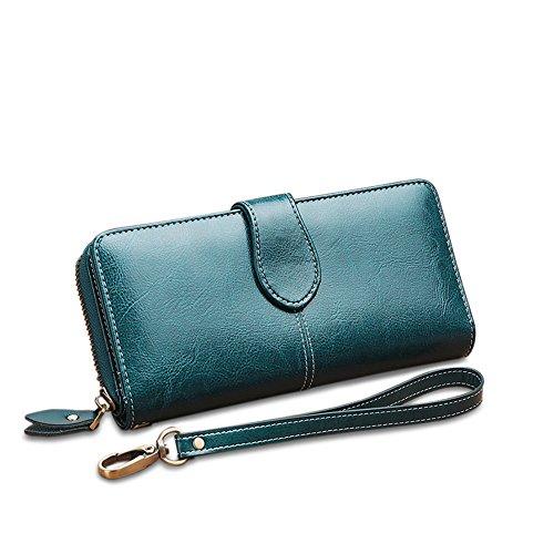 Color Long Mango Clutch Leather yellow Green Lovely Purse bag rabbit Buckle Women's Hand fold Genuine Bi pnOE7