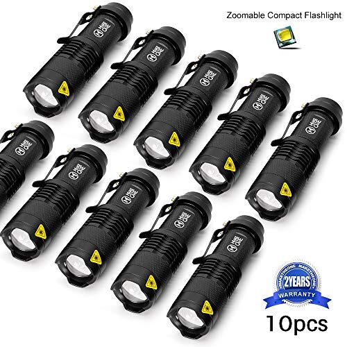 10 Pack Small EDC LED Flashlight 7W 350 lumen Tactical Zoomable Pocket Torch Portable Flashlights Bulk Best Handheld Light for Home, Car, Office & Outdoor Activities by M MAKETHEONE