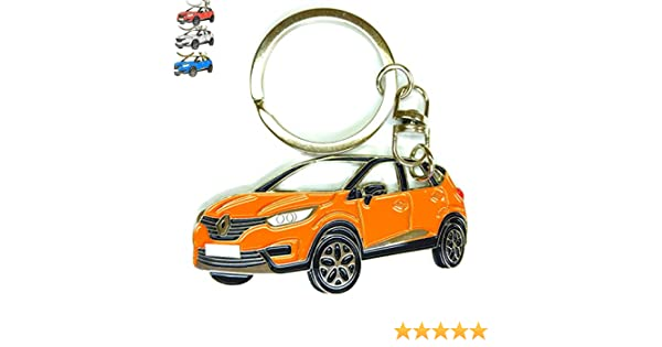 Replica. Enamel Orange Chrome Metal tag Captur Key Chain for car Accessories