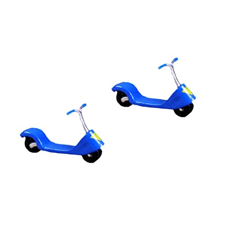 Amazon.com : Wansan 2 Pcs Miniature Scooter Dollhouse Plant ...