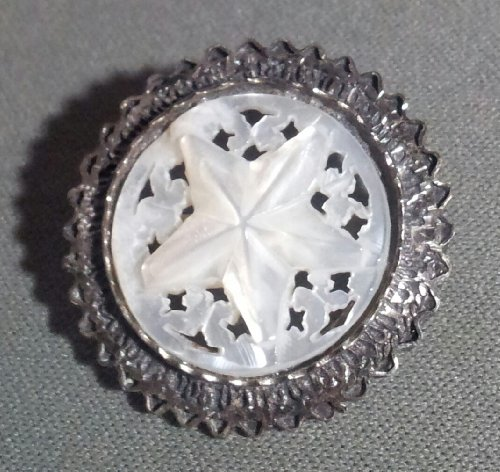 Vintage Silver and Carved Mother of Pearl Pin