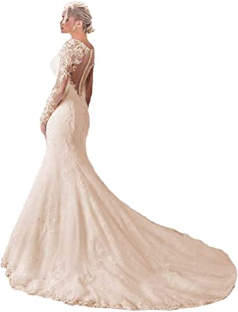 4, Ivory Womens Mermaid Wedding Dress for Bride 2019 Backless Lace Appliques Bridal Gowns