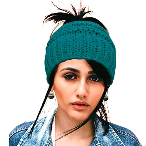 790649e75 Women's Ponytail Beanies Messy Bun Winter Crochet Knit Beanie Hats  BeanieTail with Ponytail Bun Hole for Women Girls Blue Teal