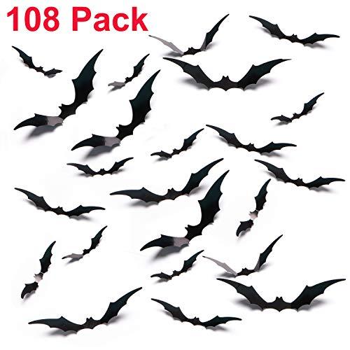 AOSKA Halloween Bat Sticker - Halloween Horror Window Wall Decor - 108 Pack Contains 4 Sizes (Black) -