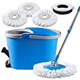 Mastertop Magic Spin Mop and Bucket Set Foot Pedal Microfiber Mop with 3 Pcs Refill Mop Pads 1Pcs Brush Head …