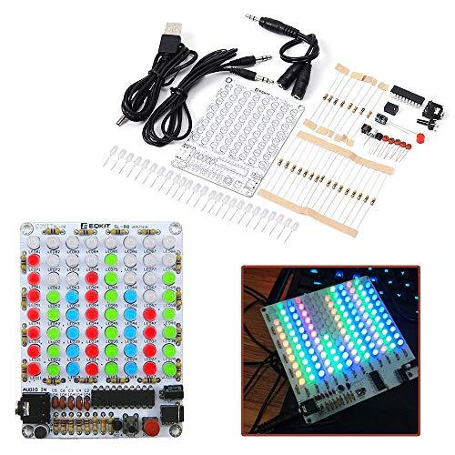 (IS Icstation 8X8 Color LED Sound Audio Spectrum Analyzer Level Indicator Kit DIY Electoronics Soldering Practice Set)