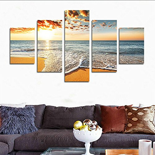 H.COZY 5 Piece Sunset Waterfront Modern Home Decor Wall Canvas Art HD Image Print Painting on Canvas for The Room (No Frame) Unframed far109 50 inch x30 inch